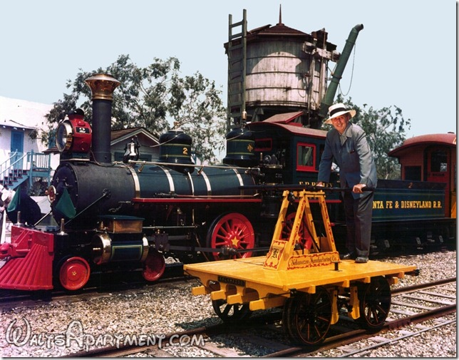 Walt Disney on the Kalamazoo handcar in front of the #2 E. P. Ripley