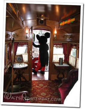 Mickey, aboard the Lilly Belle VIP car, waving to the guests at the dedication - www.WaltsApartment.com