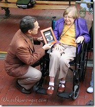 Michael Broggie presenting to Betty Kimball on dedication day, February 15, 2006 - www.WaltsApartment.com