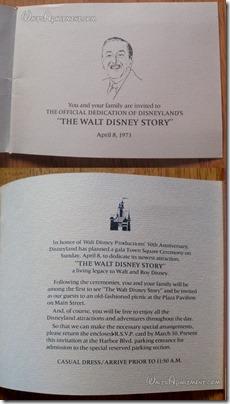 Dedication invitation to the dedication of The Walt Disney Story - WaltsApartment.com