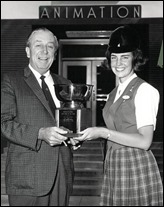 Walt Disney with 1965 Tour Guide of the Year, Suzanne Fuller - www.WaltsApartment.com