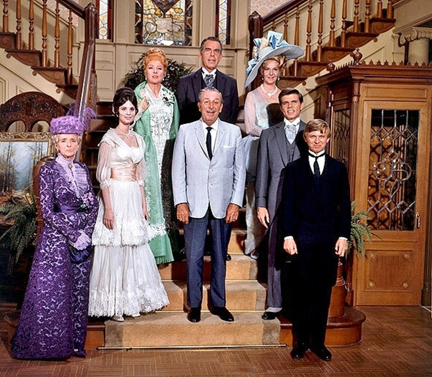 Walt Disney and the cast of The Happiest Millionaire pose during filming | WaltsApartment.com