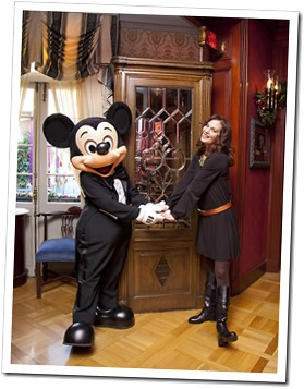Lesley Ann Warren poses with Mickey Mouse at Club 33. - www.WaltsApartment.com