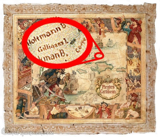 John Horny's map for Pirates of the Carribean - WaltsApartment.com