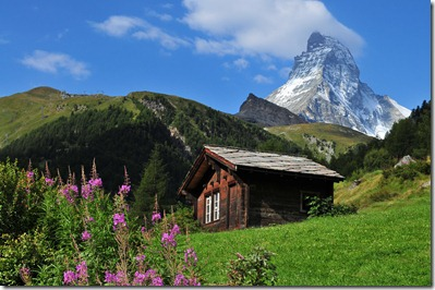 Cabin on the Matterhorn - Swiss landscape - by Juan Rubiano