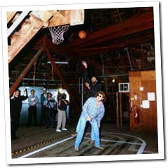 Vlade Divac of the LA Lakers shooting over Brian Phelps of KLOS radio inside the Matterhorn.
