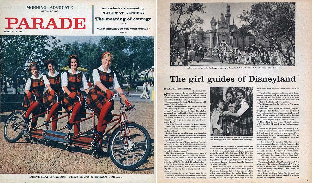 1961 Parade Magazine - The girl guides of Disneyland | WaltsApartment.com